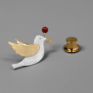 Peace Pigeon Silver Brooch simple natural pearl collar accessories - Acecare Jewellery Store