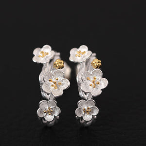 Silver Chinese style beautiful flower retro literary plum earrings