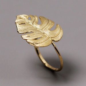 Turtle Leaf Natural Leaf Opening Ring - Acecare Jewellery Store