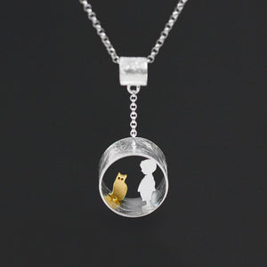 Silver hollow cylinder Cat pendant without chain - Acecare Jewellery Store