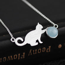 Load image into Gallery viewer, fine silver cat pendant necklace for women - Acecare Jewellery Store