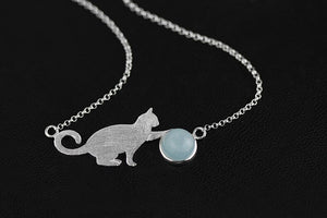fine silver cat pendant necklace for women - Acecare Jewellery Store