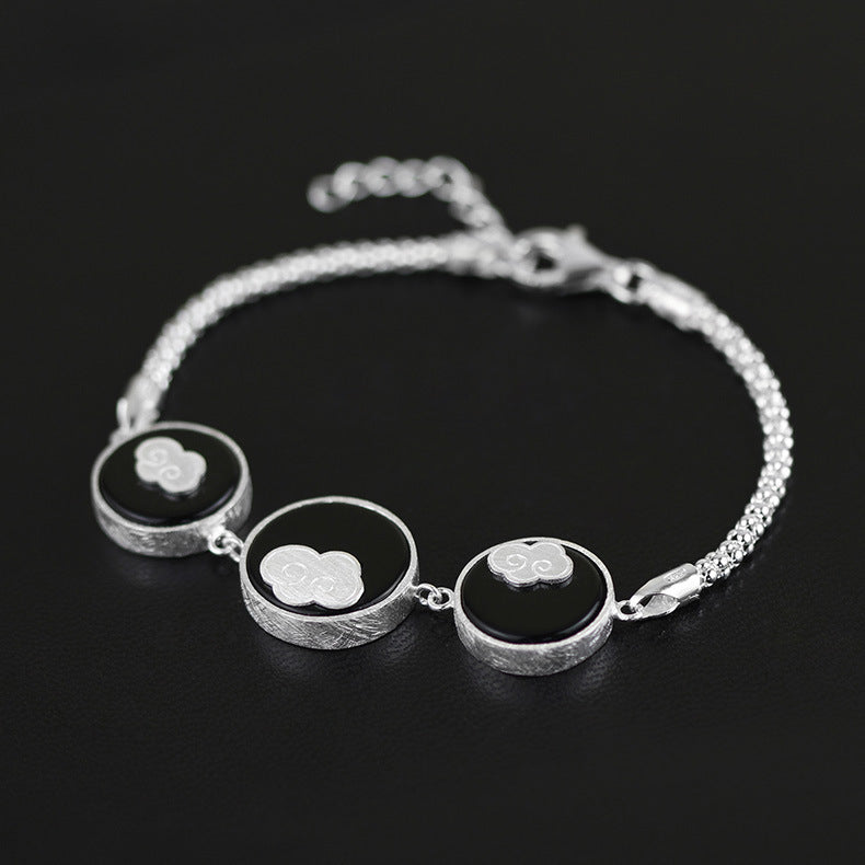 Concise design [floating clouds] female Bracelet inlaid with black agate - Acecare Jewellery Store