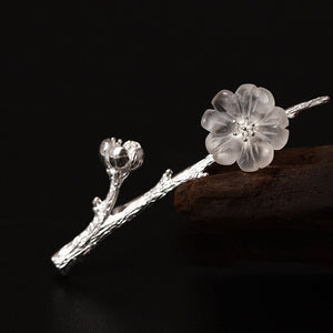Silver retro national wind tree branch crystal flower plum breed female personality diy art flower flower dull - Acecare Jewellery Store