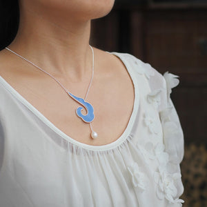 Chinese wind moire dropping rubber necklace with Pearl for women - Acecare Jewellery Store