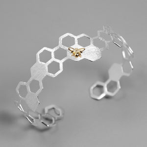 Silver Creative Handmade Honeycomb Bangle for Women - Acecare Jewellery Store