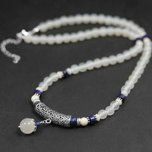 Load image into Gallery viewer, Handmade female beads agate stain necklace pure silver segment - Acecare Jewellery Store