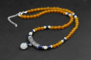 Handmade female beads agate stain necklace pure silver segment - Acecare Jewellery Store