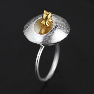 Crafted Flower pot kitten opening ring - Acecare Jewellery Store