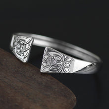 Load image into Gallery viewer, Chinese Style  Minimalistic | Silver Adjustable Solid Flower Design Bangle - Acecare Jewellery Store