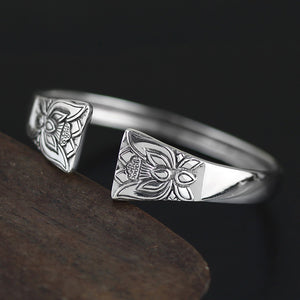 Chinese Style  Minimalistic | Silver Adjustable Solid Flower Design Bangle - Acecare Jewellery Store
