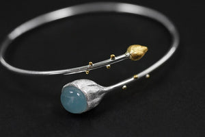 Pure anemone lotus Peng inlaid with high-quality sea blue Bracelet - Acecare Jewellery Store