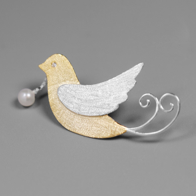 Brooch bird with Pearl natural cute clothing accessories - Acecare Jewellery Store