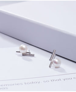 Silver natural pearl zircon T-shaped small fresh personality earrings
