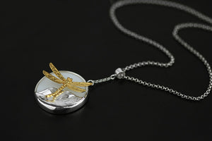 Women jewelry necklace Original Lightweight Silver Dragonfly Leaf-inlaid White Porcelain Pendant - Acecare Jewellery Store