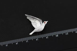 Flying Bird Set Silver Brooch Series with Natural Garnet for Autumn Jacket Accessories - Acecare Jewellery Store