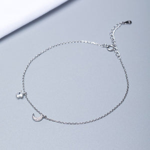 Silver star zircon anklet | small fresh design natural material inlaid silver one generation - Acecare Jewellery Store