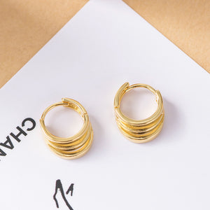 Simple multi-layer three ring round wild earrings for women