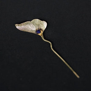 Retro Ginkgo Biloba Flower Hair Stick Hairpin Chinese Style Handmade Hair Style Curler Hair Accessories - Acecare Jewellery Store
