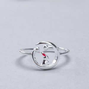 Silver cute moon rabbit opening adjustable ring jewelry - Acecare Jewellery Store