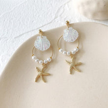 Load image into Gallery viewer, New Design Pearl Bohemian Hoop Starfish Earring