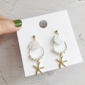 New Design Pearl Bohemian Hoop Starfish Earring
