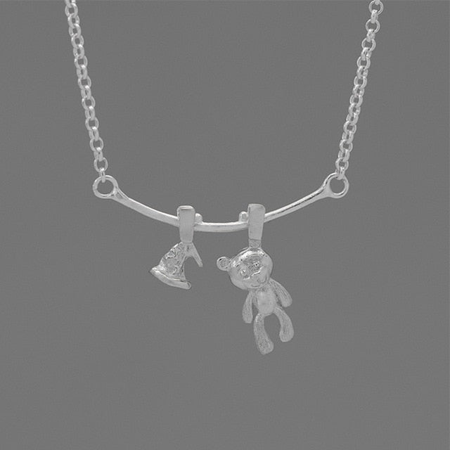 Silver Cartoon Bear Choker Necklace Jewelry for Women (Korean Fashion) - Acecare Jewellery Store