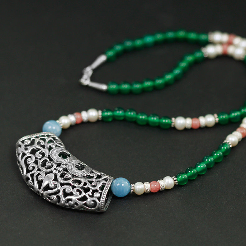 Handmade beaded green agate necklace for women - Acecare Jewellery Store