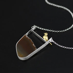 Creative Bird Origional Agate Stone Novelty Necklace/ Natural Agate Pendant Jewelry - Acecare Jewellery Store
