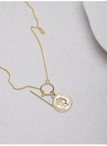 Silver personality round avatar necklace with exotic gold-plated craft silver jewelry chain - Acecare Jewellery Store