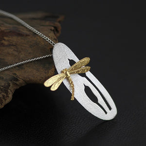 Women necklace Originally crafted pure silver Dragonfly Flower Pendant without chain - Acecare Jewellery Store