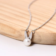 Load image into Gallery viewer, Silver Bunny Rabbit Ear Necklace Korean Style Pearl Female Clavicle Chain Wholesale - Acecare Jewellery Store