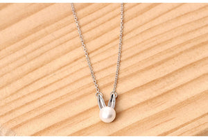 Silver Bunny Rabbit Ear Necklace Korean Style Pearl Female Clavicle Chain Wholesale - Acecare Jewellery Store