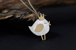 Sterling silver necklace (Originality Lovely Dummy Princess Bird Series) pendant without chain - Acecare Jewellery Store