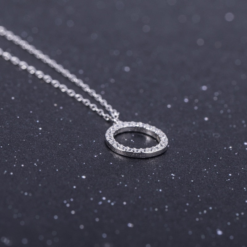 Silver round diamond necklace with small fresh design natural zircon chain - Acecare Jewellery Store