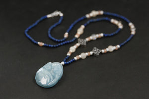 Handmade beads gold nine necklace female sea blue ballat - Acecare Jewellery Store