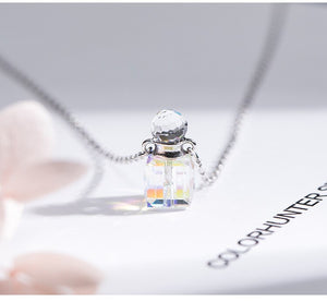 Creative Korean Perfume Crystal Bottle Pendant  Necklacewith chain for female(Wholesale) - Acecare Jewellery Store