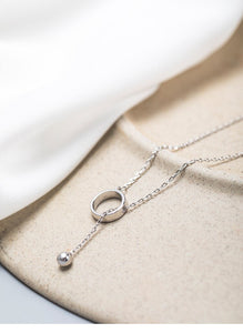 French fashion trend sliding circle necklace two wearing with chain for women - Acecare Jewellery Store