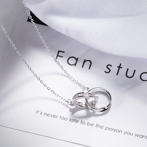 Double silver ring pendant necklace for women - Acecare Jewellery Store