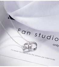 Load image into Gallery viewer, Double silver ring pendant necklace for women - Acecare Jewellery Store