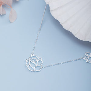 Silver rose necklace with clavicle chain (wholesale) - Acecare Jewellery Store