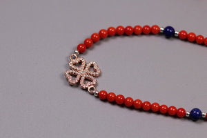 Handmade beaded lapis lazuli coral necklace with section heart shaped clover - Acecare Jewellery Store