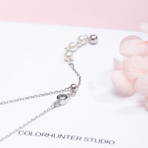 Silver pearl zircon tassel necklace | Korean style - Acecare Jewellery Store