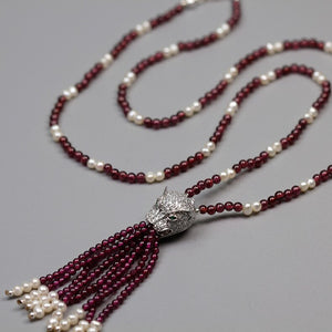 Handmade beaded women's pearl agate necklace zircon pav leopard head - Acecare Jewellery Store