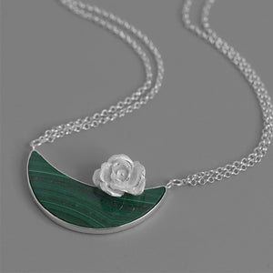Charm Flower Floating Handmade Chain Necklace Pendant Moon For Women - Acecare Jewellery Store