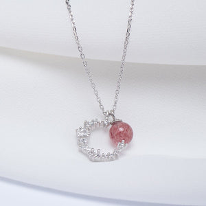 Strawberry crystal moon zircon pendant necklace with crystal clavicle chain - Acecare Jewellery Store