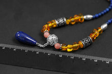 Load image into Gallery viewer, Handmade beaded lapis lazuli amber necklace for women - Acecare Jewellery Store
