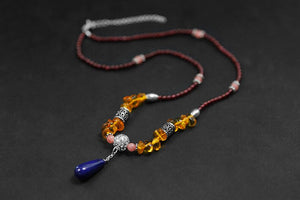 Handmade beaded lapis lazuli amber necklace for women - Acecare Jewellery Store