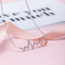 Load image into Gallery viewer, Silver heart beat love necklace with simple small fresh clavicle chain for women - Acecare Jewellery Store