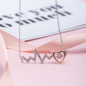 Silver heart beat love necklace with simple small fresh clavicle chain for women - Acecare Jewellery Store
